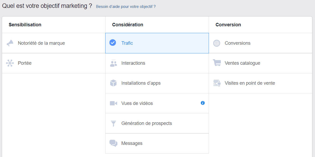 Les types de campagnes Facebook Ads