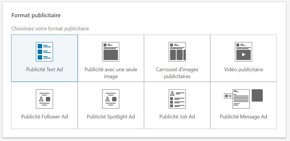 Formats publicité Linkedin Ads